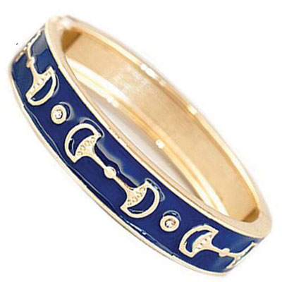 Snaffle Bit Bangle Bracelet/Navy