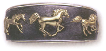 Sterling Silver Cuff Bracelet w/ 14KT Gold Running Horses