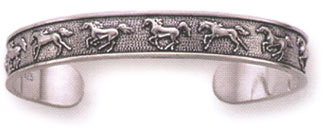 Sterling Silver Small Die Struck 11 Horses Cuff