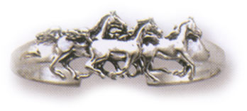 Sterling Silver Running Horses Cuff