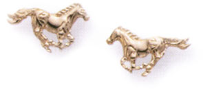 14K Gold Running Horses Earrings