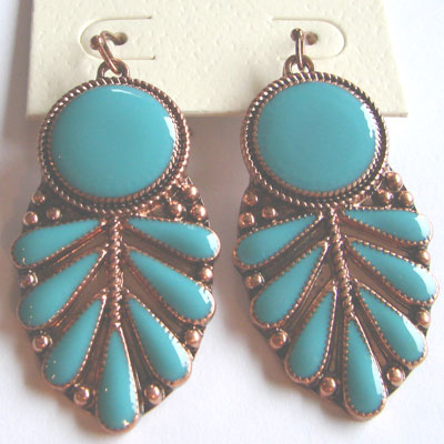 Copper/Turquoise Leaves Earrings