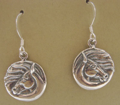 Sterling Horse Circles Earrings