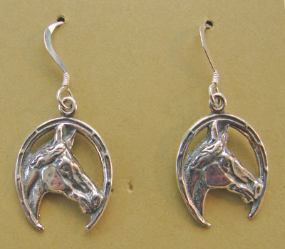 Sterling Horsehead in Horseshoe Earrings