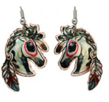 Painted Warrior Ponies Earrings