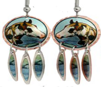 Painted Feathers Horse Earrings