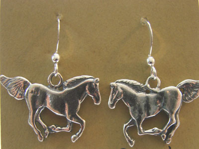 Sterling silver Loping Horses Earrings