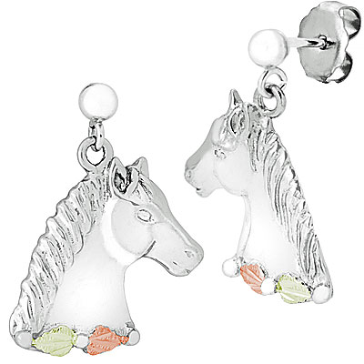 Sterling Silver/ Black Hills Gold Horsehead Post Earrings