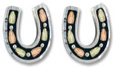 Sterling/ Black Hills Gold Horseshoe Earrings