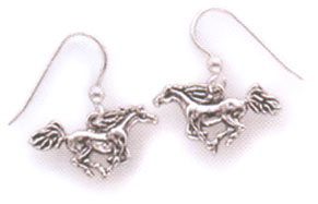 Sterling Silver Running Horses Wire Earrings