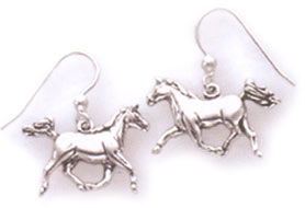 Sterling Silver Arab Trotting Earrings Wire Hoops