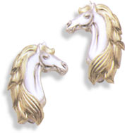 Sterling Silver Arabian Horse Head Earrings w/ 14KT Gold Mane