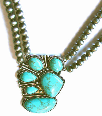 Turquoise with Beads Pendant