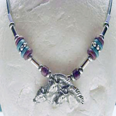 Pewter Horseheads Torquoise and Red Pendant