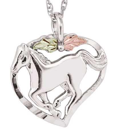 Black Hills Running Horse in Heart Pendant