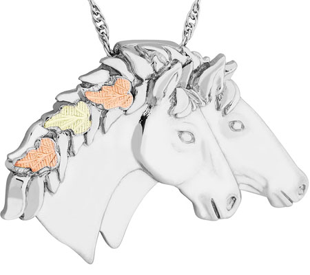 Sterling silver Double Horseheads Pendant