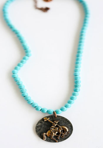 Turquoise with Copper Bronco Pendant