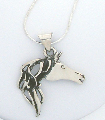 Sterling Filigree Horsehead Pendant