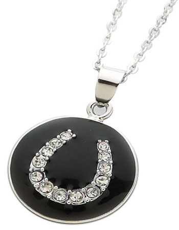 Rhodium / Black Enamel Horseshoe Pendant