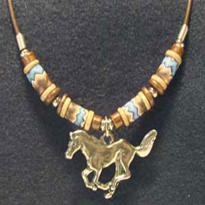 Pewter Running Horse Blue Pendant