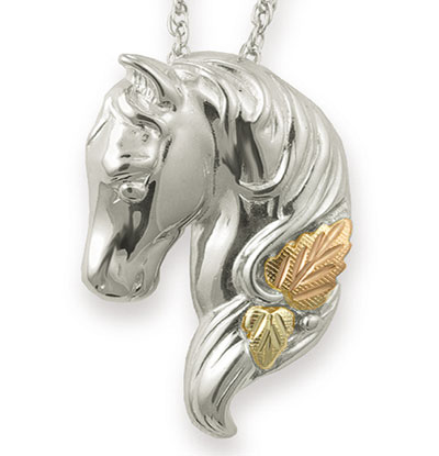 Sterling Silver/Black Hills Gold Horsehead Pendant