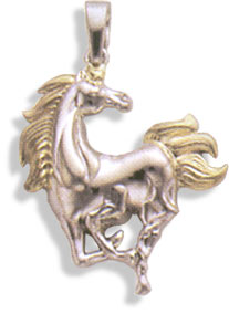 Sterling Silver & 14 KT Gold Large Silver Horse Pendant