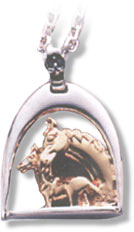 Sterling Silver and 14KT Gold Mare & Foal Pendant in an English Stirrup