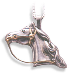 Sterling Silver & 14KT Gold Quarter Horse Head w/ Bridle Pendant