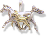 Sterling Silver & 14KT Gold Running Mare & Foal Pendant
