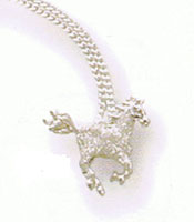 Sterling Silver Galloping Horse Pendant w/ Velvet Pave Finish