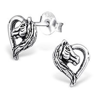Sterling silver Horsehead Heart Earrings