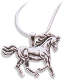 Sterling Silver Large Horse Pendant