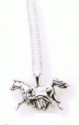 Sterling Silver Running Mare & Foal Pendant
