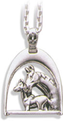 Sterling Silver Stirrup w/ Mare & Foal Pendant