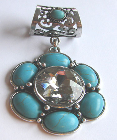 Turquoise Flower Scarf Ring