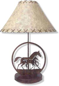 Running Mare/Foal Lamp
