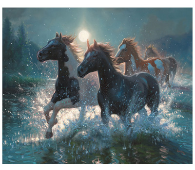 Horses/Water Lighted Art
