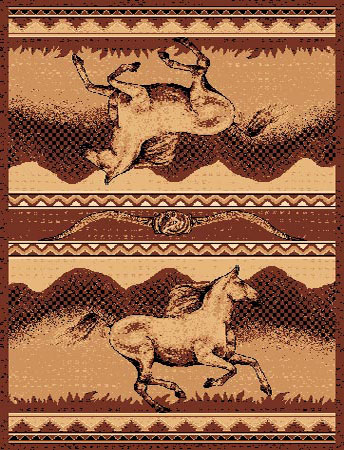 Mirrored Horses Area Rug