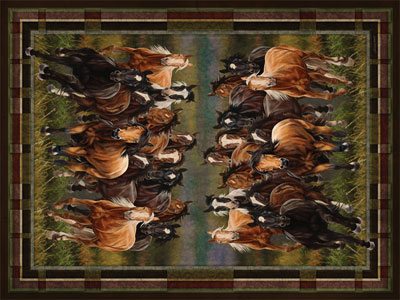 Stampeding Horses Area Rug