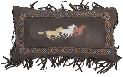 Three running Horses Pillow