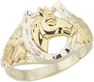 Sterling Silver Black Hills Gold Mens Horseshoe Ring