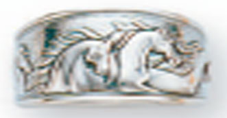 Sterling Silver Running Horses with 4 Flowing Manes Ring