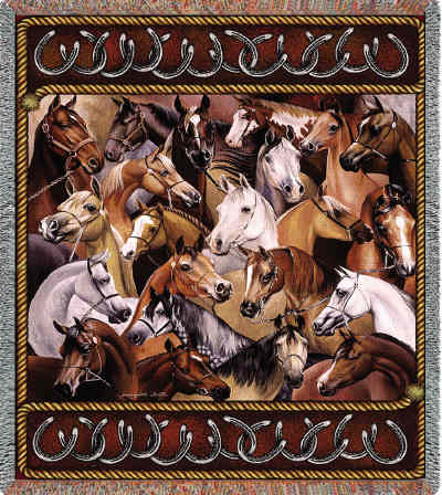 Bridled Horses Throw/Tapestry