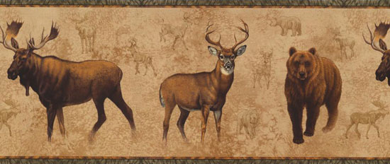 Wallpaper Border - Bear, Moose, & Elk