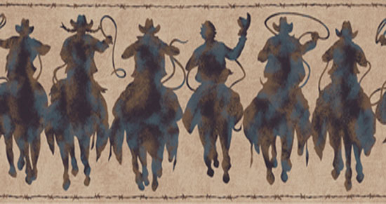 Wallpaper Border - Cowboy Silhouettes