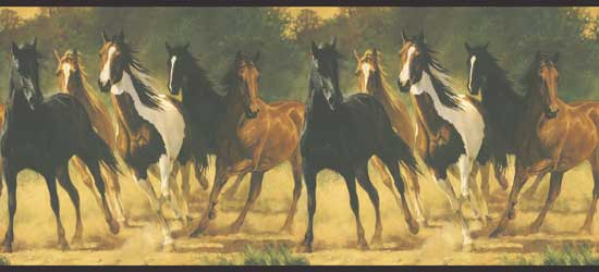 Wallpaper Border - Running Horses (#LM7904B) - Western Peddler Wallpaper Border - Running Horses