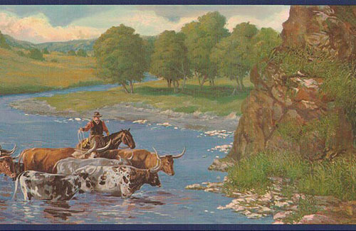 Wallpaper Border-Cattle Drive Navy