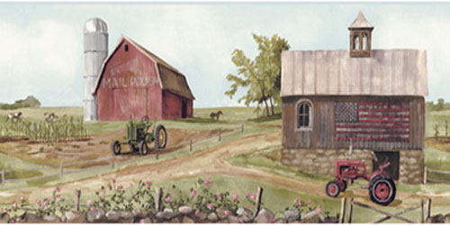 Wallpaper Border - Tractor and Barn