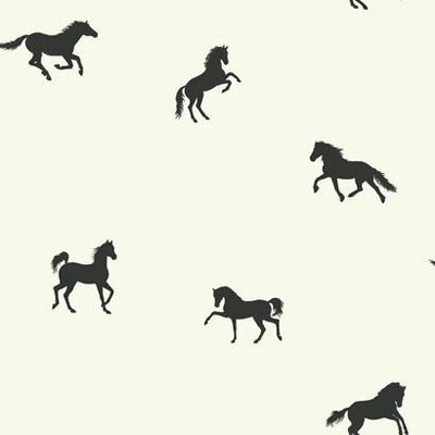 Wallpaper - Hooray For Horses Black