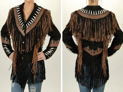 Black/Brown Suede Fringe Jacket